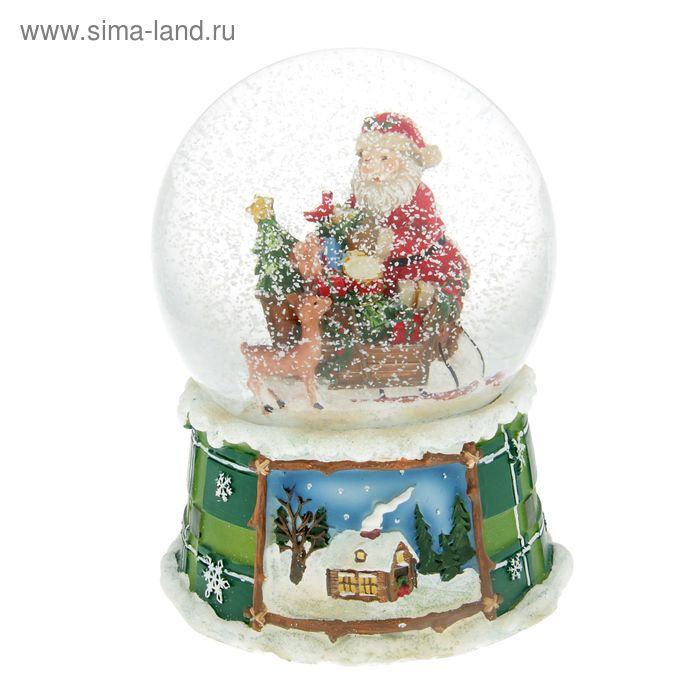 """Сувенир водяной шар """"Дед Мороз на санях с подарками"""" музыкальный"""