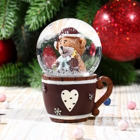 Сувенир водяной шар в форме чашки 'Медвежонок в колпаке' Ош