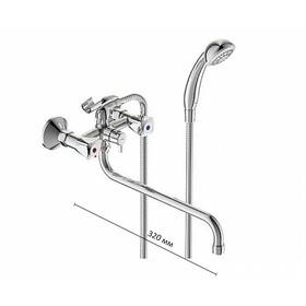 """Смеситель для ванны Vidima """"ВидимаПрактик"""", двухвентильный, настенный, излив 320 мм, хром"""