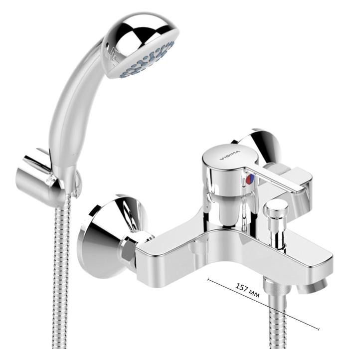"""Смеситель для ванны Vidima """"Логик"""", настенный, литой излив 152-157 мм, хром"""