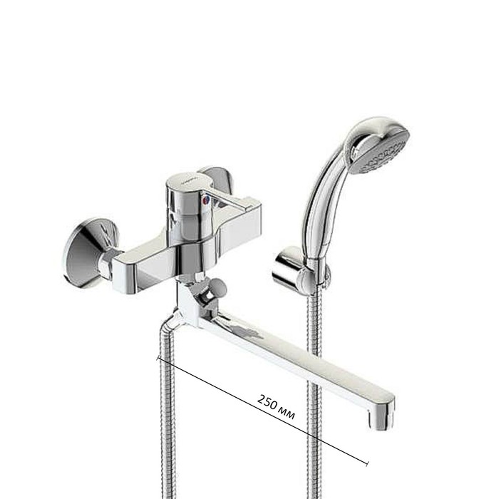 """Смеситель для ванны Vidima """"Логик"""", настенный, излив 250 мм, хром"""