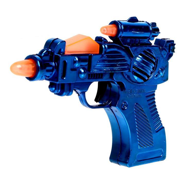 Пистолет Бластер, свет и звук, работает от батареек, цвета МИКС