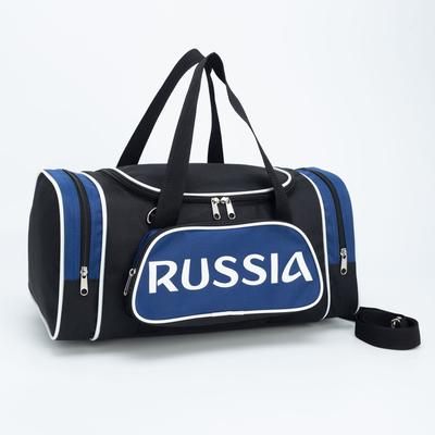 Сумка спортивная, отдел на молнии, 2 наружных кармана, цвет чёрный/синий - Фото 1
