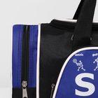 Сумка спортивная, отдел на молнии, 2 наружных кармана, цвет чёрный/синий - Фото 7