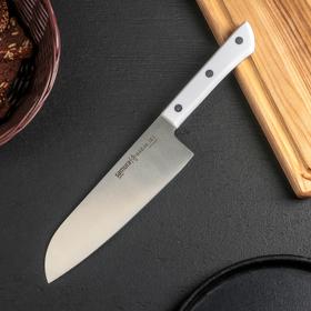 Нож Samura HARAKIRI сантоку, лезвие 17,5 см, белая рукоять, сталь AUS-8