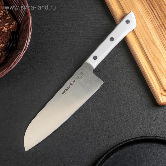 Нож кухонный сантоку Samura Harakiri, лезвие 17,5 см, белая рукоять, сталь AUS-8