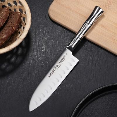 Нож кухонный SAMURA BAMBOO стальной сантоку, лезвие 13,7 см, сталь AUS-8