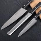 Набор кухонных ножей HаRаKIRI, 3 шт: лезвие 15 см, 18,5 см, 20,8 см, чёрная рукоять, сталь аUS-8 - Фото 2