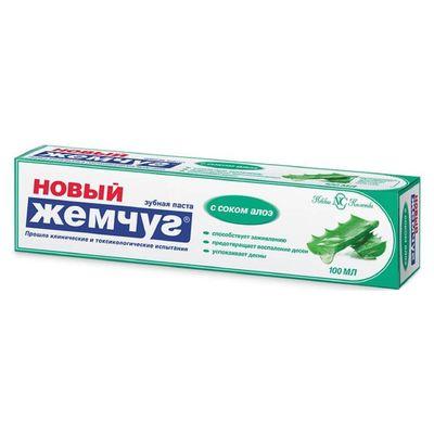 Зубная паста Новый Жемчуг, с соком алоэ, 100 мл