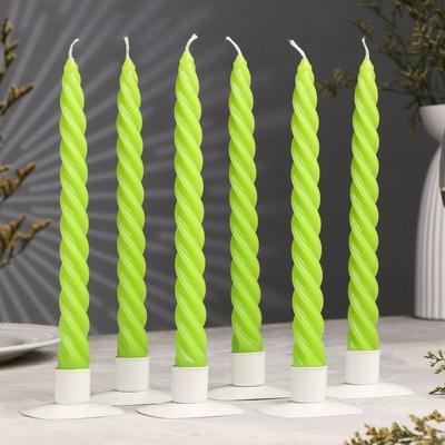 Свеча витая, 2,3х 24,5 см, зелёная