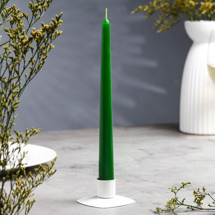 Свеча античная, 2,3х 24,5 см, тёмно-зелёная