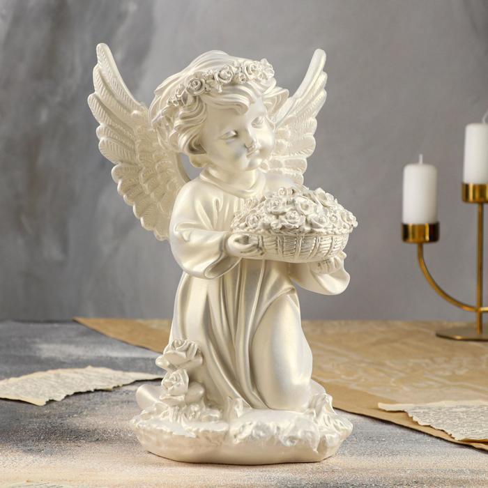 купить Статуэтка Ангел с корзиной цветов, перламутровая, 32 см