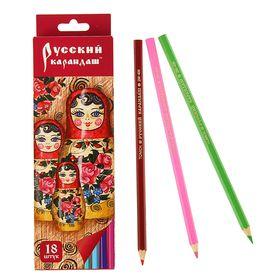 Карандаши 18 цветов, Русский карандаш. «Фольклор», шестигранные, длина 175 мм, ok 6.4 мм