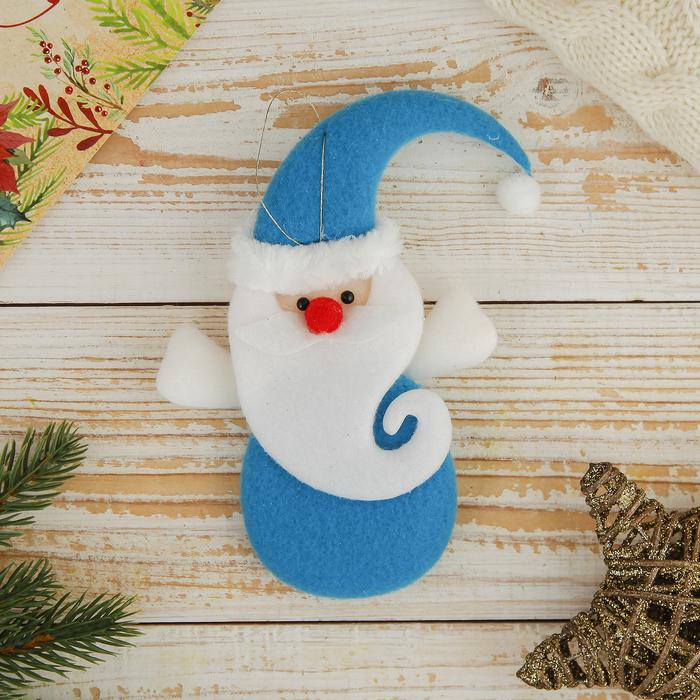 Мягкая подвеска Дед Мороз с завитой бородой 14,511 см голубой