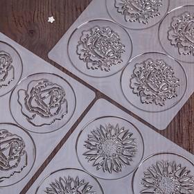 Набор молдов кондитерских для украшения выпечки19х19х0,1 см 'Подсолнух, роза, пион' 3 шт Ош