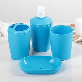"""Набор аксессуаров для ванной комнаты, 4 предмета """"Aqua"""", цвет голубой"""