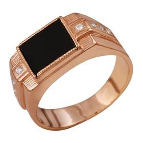 Кольцо позолота 'Перстень' прямоугольник с вставками, 22 размер Ош