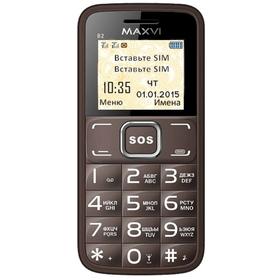 "Сотовый телефон Maxvi B2, 1.77"", 2 sim, 32Мб, microSD, 0.3 Мп, 1700 мАч, коричневый"