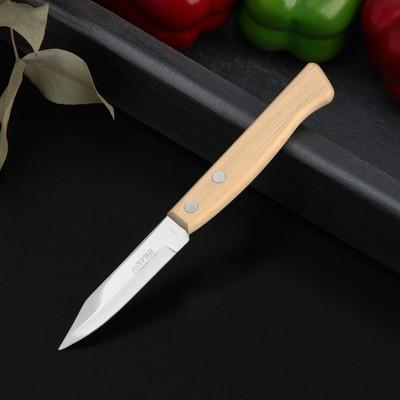 Нож кухонный «Ретро», для овощей, лезвие 8 см, с деревянной ручкой, цвет бежевый - Фото 1