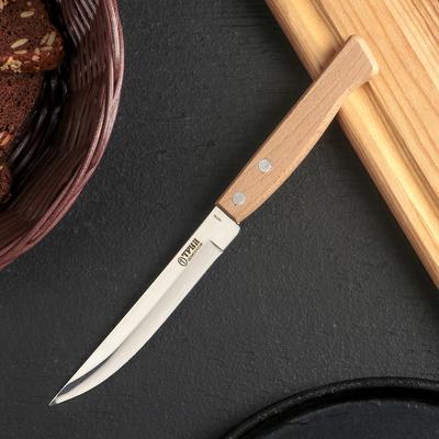 Нож кухонный «Ретро», овощной, лезвие 11,5 см, с деревянной ручкой, цвет бежевый - Фото 1