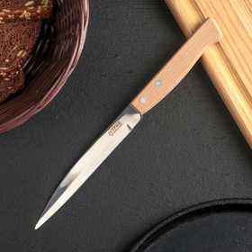 Нож кухонный Труд Вача «Ретро», овощной, лезвие 12,5 см, с деревянной ручкой, цвет бежевый