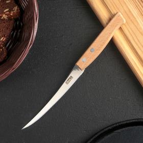 Нож кухонный Труд Вача «Ретро», овощной (для томатов), лезвие 12 см, с деревянной ручкой, цвет бежевый