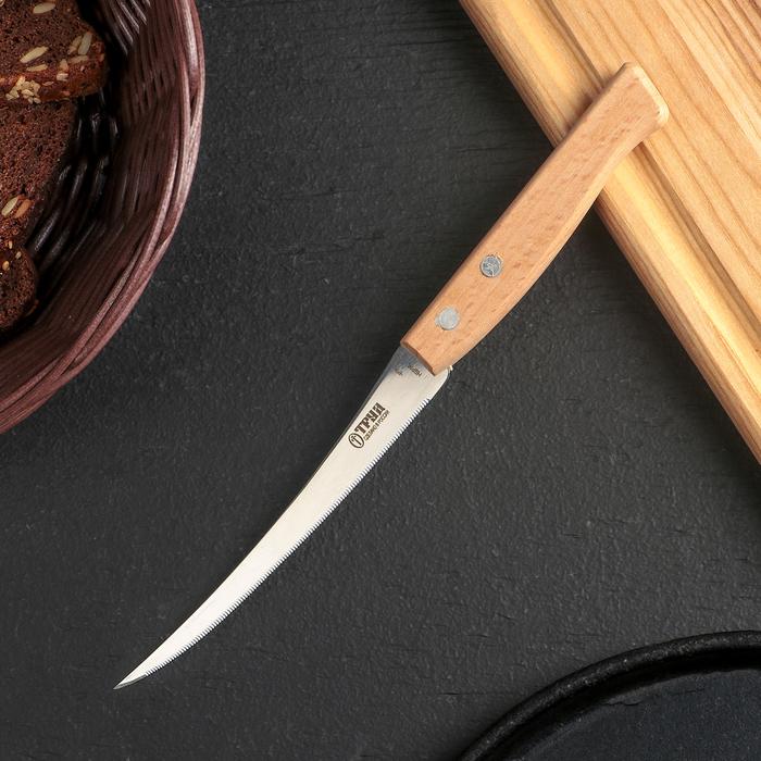 Нож кухонный для томатов «Ретро», лезвие 12 см, с деревянной ручкой, цвет бежевый