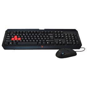 Игровой набор A4 Bloody Q1100 (Q100+S2), клавиатура+мышь, проводной, мембранный,USB, черный Ош