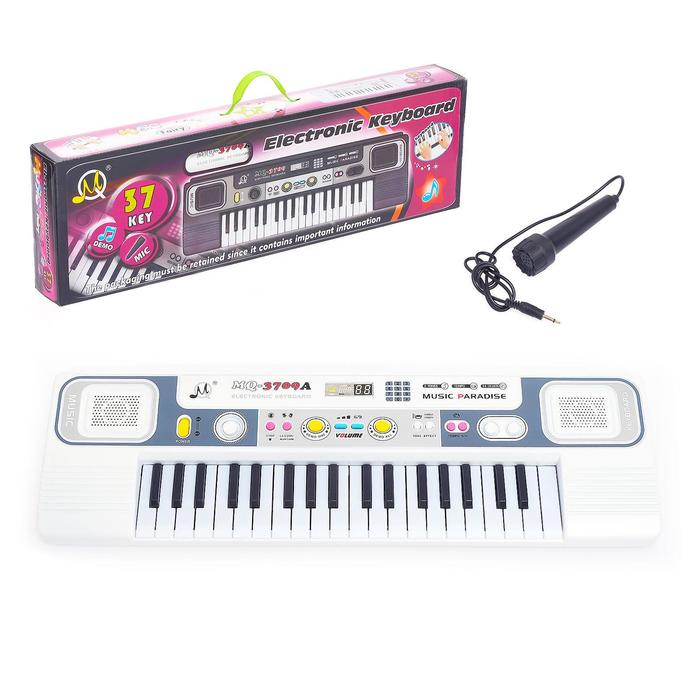 """Синтезатор """"Маленький музыкант"""", цвет белый, с микрофоном, 37 клавиш."""