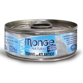 Влажный корм Monge Cat Natural для кошек, атлантический тунец, ж/б, 80 г