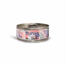Влажный корм Monge Cat Natural для кошек, тунец с курицей и креветками, ж/б, 80 г