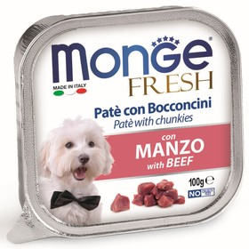 Влажный корм Monge Dog Fresh для собак, говядина, ламистер, 100 г Ош