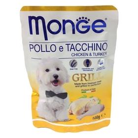Влажный корм Monge Dog Grill Pouch для собак, курица с индейкой, пауч, 100 г