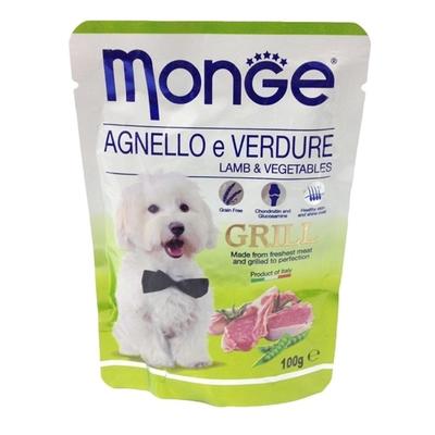 Влажный корм Monge Dog Grill Pouch для собак, ягненок с овощами, пауч, 100 г - Фото 1