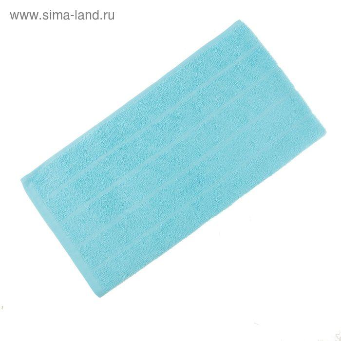 Полотенце махровое, размер 30х60 см, цвет голубой, жаккард