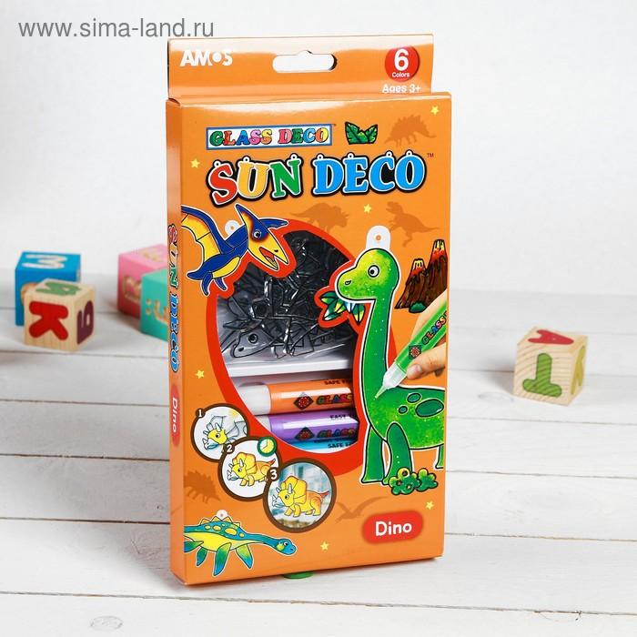 """Набор витражных красок """"Динозавры"""", 6 цветов по 10,5 мл + 6 мини-витражей"""