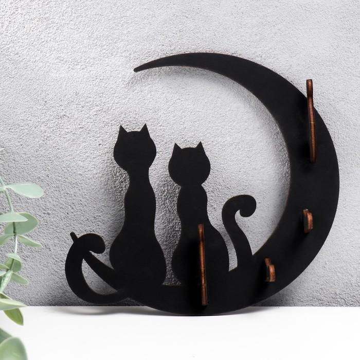 """Ключница открытая """"Коты и луна"""" 17×16×3 см"""