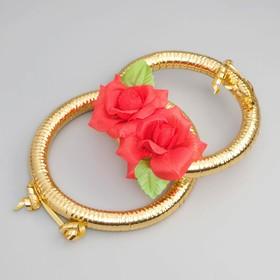 Кольца на радиатор «Свадьба» с красными цветами Ош