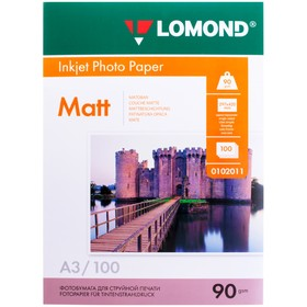 Фотобумага для струйной печати А3 LOMOND, 102011, 90 г/м², 100 листов, односторонняя, матовая