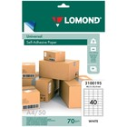 Этикетка самоклеящаяся LOMOND 2100195 на листе формата А4, 40 этикеток, размер 48,5х25,4 мм, белая, 50 листов