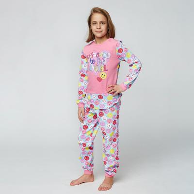 Пижама для девочки НАЧЁС, цвет розовый, рост 128 см (64) - Фото 1