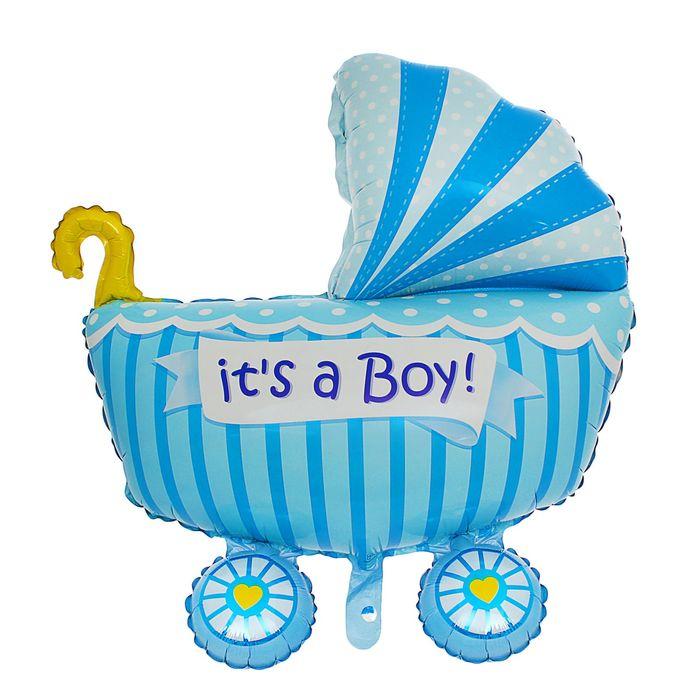 купить Шар фольгированный 35 Коляска детская, цвет голубой