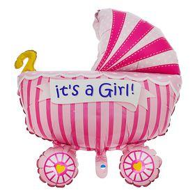 купить Шар фольгированный 35 Коляска детская, цвет розовый