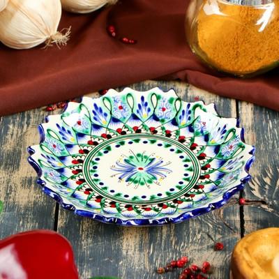 Тарелка плоская рифленая Риштанская Керамика 15см - Фото 1