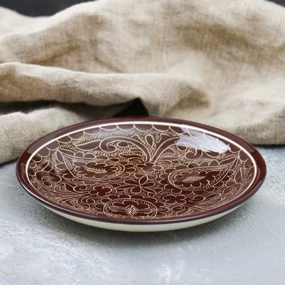 Тарелка плоская Риштанская Керамика 15,5см коричневый - Фото 1