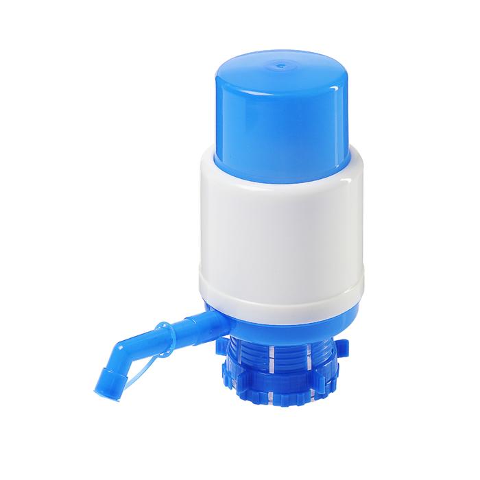 Помпа для воды LuazON, механическая, средняя, под бутыль от 11 до 19 л, голубая