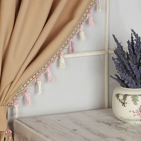 Тесьма с кисточками, 7 см, 12 ± 1 м, цвет белый/розовый/золотой Ош
