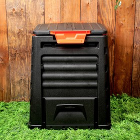 Компостер пластиковый, 320 л, с крышкой, 65 × 65 × 75 см, черный Ош