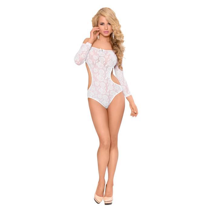 Боди с открытыми плечами и спиной SoftLine Collection Rosa, цвет белый, размер M/L