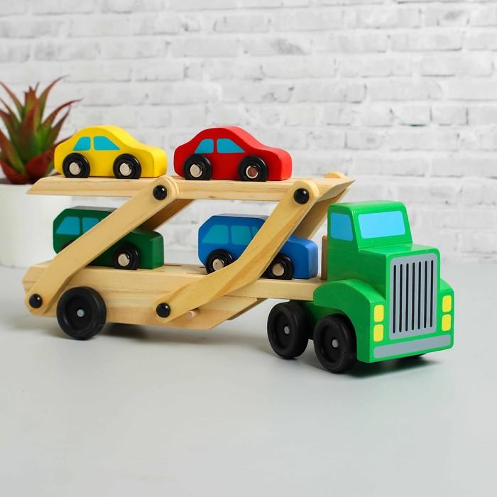 Игрушка деревянная «Автовоз», цвета МИКС